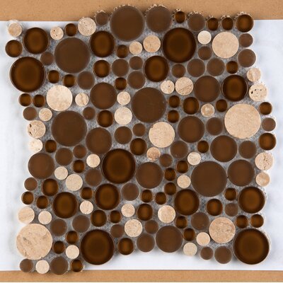 Lucente Random Sized Glass Pebble Tile in Brown by Emser Tile