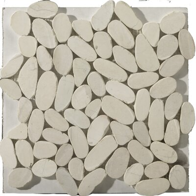 Natural Stone Random Sized Marble Pebble Tile in Ivory by Emser Tile
