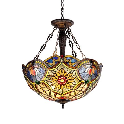 Victorian 3 Light Rebecca Inverted Ceiling Pendant by Chloe Lighting