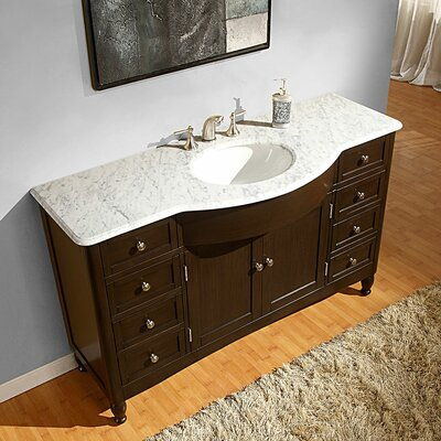 Silkroad exclusive kelston 58 single bathroom vanity set - Bathroom vanities and cabinets clearance ...