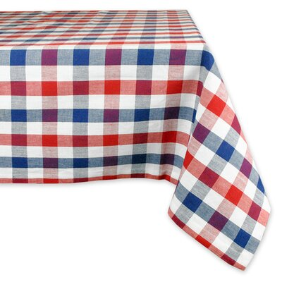 Red and Blue Check Round Tablecloth by Design Imports