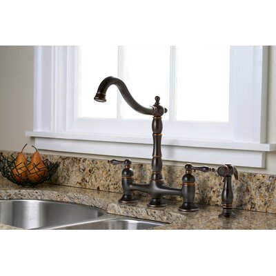 Charlestown Two Handle Bridge Style Kitchen Faucet with Matching Side Spray Product Photo