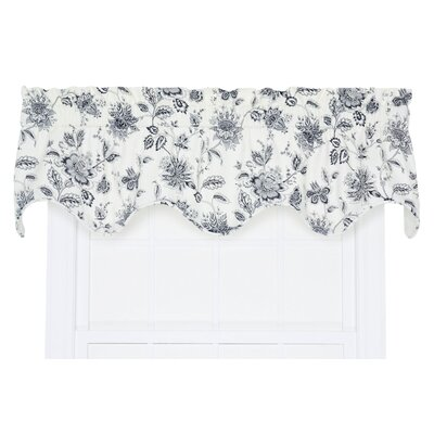 "Winston Floral Print Lined Scallop 70"" Curtain Valance Product Photo"