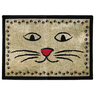 PB Paws & Co. Gold / Black Kitty Whiskers Tapestry Indoor/Outdoor Area Rug by Park ...