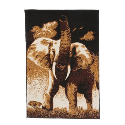 Home Dynamix Zone Elephant Novelty Brown Area Rug