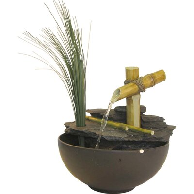 Eternity Bamboo and Leaf Tabletop Fountain by Alpine