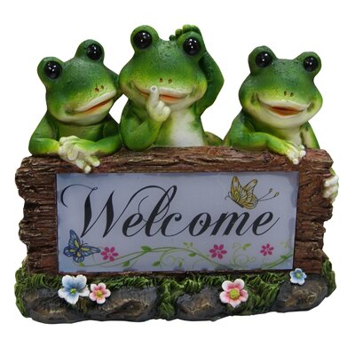 Solar Frogs Welcome Statue by Alpine