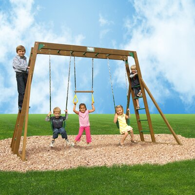Classic Swing Set with Top Ladder and Chained Accessories Product Photo
