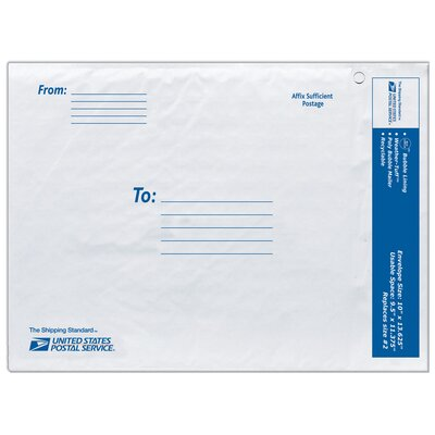 "Lepages 10"" USPS Poly Bubble Mailer in White"
