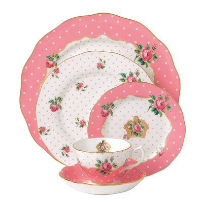 New Country Roses Cheeky Vintage 5 Piece Place Setting by Royal Albert