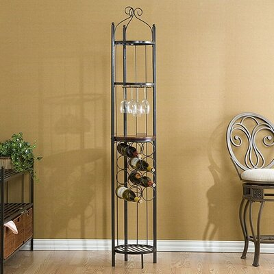 Wildon Home ® Macassar Ebony Scrolled 8 Bottle Wine Rotunda/ Rack in Gunmetal Gray