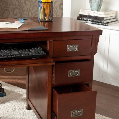 Wildon Home ® Mathis Computer Desk with Double Pedestal and Keyboard Tray
