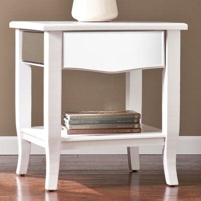 Marcel White Mirrored End/Side Table by Wildon Home ®