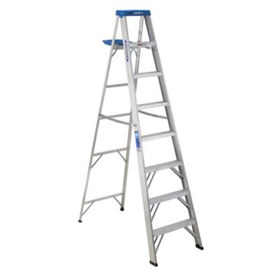Werner 8 ft Aluminum Step Ladder with 250 lb. Load Capacity
