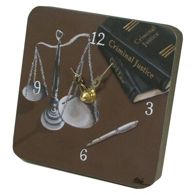 Lexington Studios Home and Garden Scales of Justice Tiny Times Clock