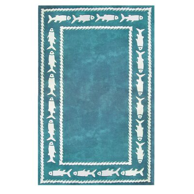 Beach Fish Border Teal Area Rug by American Home Rug Co.