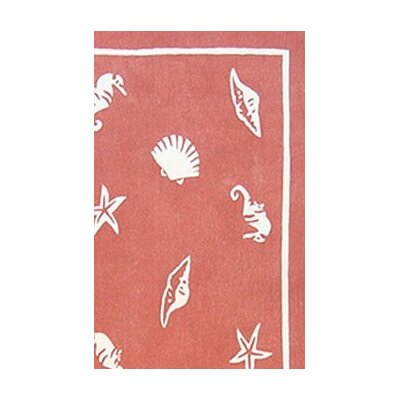 American Home Rug Co. Beach Rug Light Coral Shells and Seahorses Novelty Rug