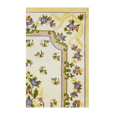 American Home Rug Co. Floral Garden Aubusson Ivory/Yellow Area Rug