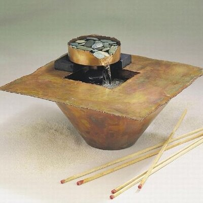 Copper Water and Fire Square Tabletop Fountain by Nayer Kazemi
