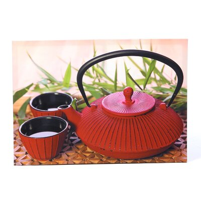 Red Teapot Photographic Print on Wrapped Canvas by Oriental Furniture