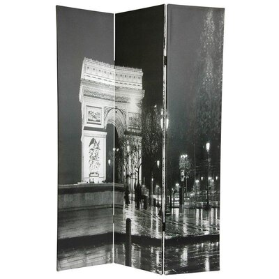"Oriental Furniture 72"" x 48"" Double Sided Paris 3 Panel Room Divider"