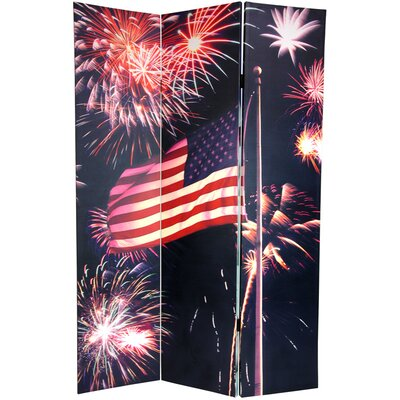 """Oriental Furniture 72"""" x 48"""" Double Sided Liberty 3 Panel Room Divider"""