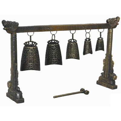 Oriental Furniture Tibetan Five Decorative Bell Gong Sculpture