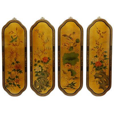 Golden Birds and Flowers Curved Wall Plaques in Gold by Oriental Furniture