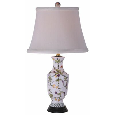 """Oriental Furniture Porcelain Vase 21"""" H Table Lamp with Empire Shade"""