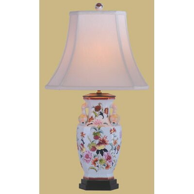 """Oriental Furniture Porcelain Pomegranate Vase 30"""" H Table Lamp with Bell Shade"""