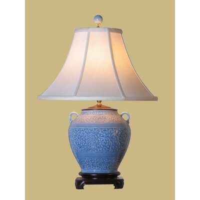 "Oriental Furniture 24"" Jar Lamp in Light Blue"
