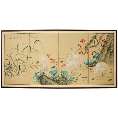 Geese in The Water 4 Panel Room Divider by Oriental Furniture