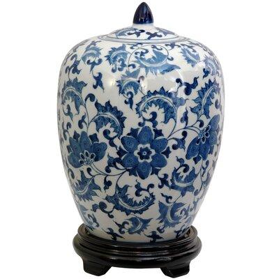 Oriental Furniture Floral Design Decorative Urn