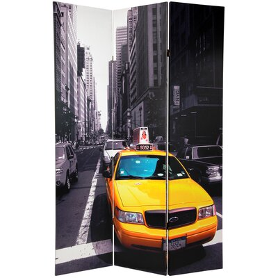 """Oriental Furniture 70.88"""" x 47.25"""" Double Sided New York Taxi 3 Panel Room Divider"""