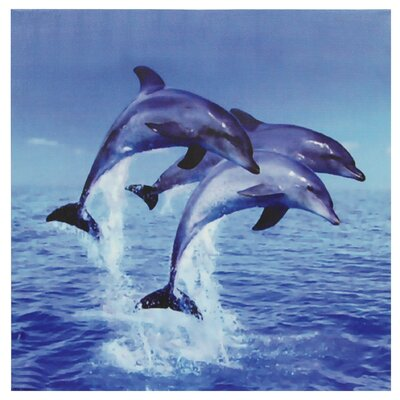Oriental Furniture Three Rising Dolphins Photographic Print on Wrapped Canvas