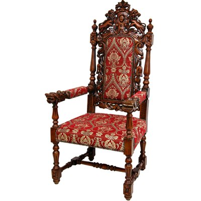 Queen Anne Parlor Fabric Arm Chair by Oriental Furniture