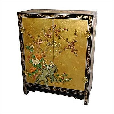 Asian Gold Leaf Lacquer Cabinet by Oriental Furniture