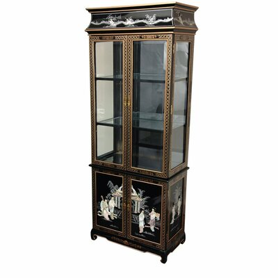 Curio Cabinet with Mother of Pearl Ladies by Oriental Furniture