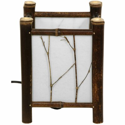 """Oriental Furniture Watashi Japanese 8.5"""" H Table Lamp with Square Shade"""