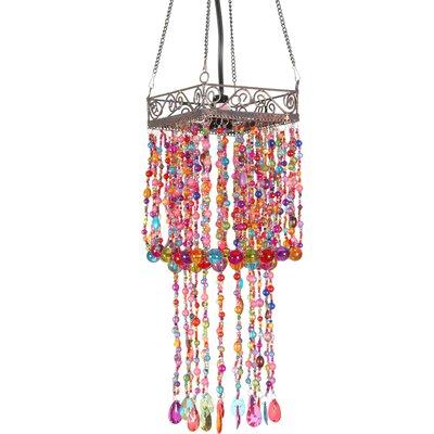 Oriental Furniture Draped Beads Hanging Lantern