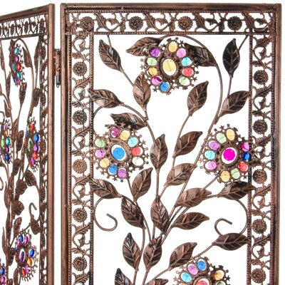 """Oriental Furniture 54"""" x 40.5"""" Tall Vines and Flowers Beaded 3 Panel Room Divider"""