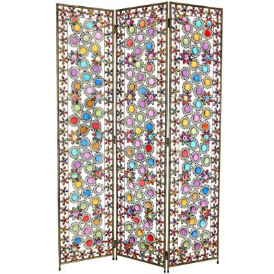"Oriental Furniture 67.75"" x 46.5"" Tall Flowers and Beads 3 Panel Room Divider"
