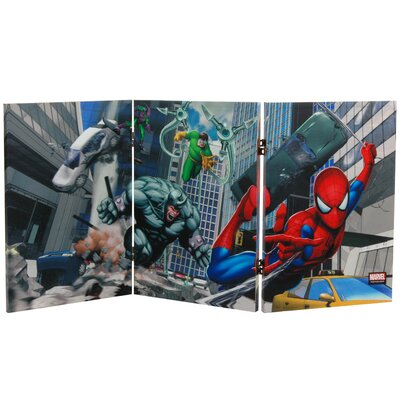 """Oriental Furniture 23.75"""" × 47.25"""" Tall Double Sided Friendly Neighborhood Spider-Man 3 Panel Room Divider"""