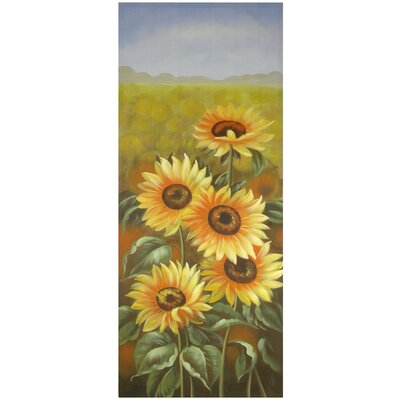 Oriental Furniture Hand Painted Sunflowers Original Painting on Wrapped Canvas