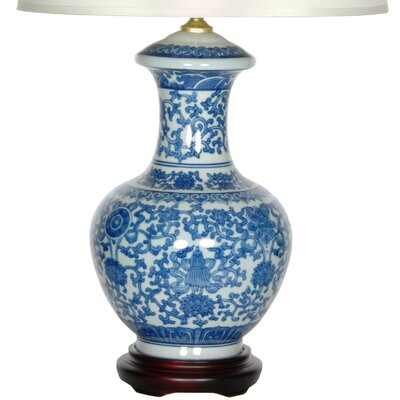 """Oriental Furniture Porcelain Round Vase 24"""" H Table Lamp with Empire Shade"""