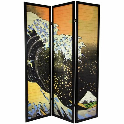 "Oriental Furniture 70.75"" x 52.5"" Japanese Tall Wave Shoji 3 Panel Room Divider"