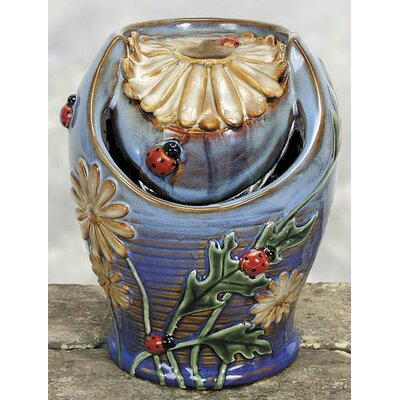 Porcelain Daisies Ladybug Water Fountain by Coyne's Company