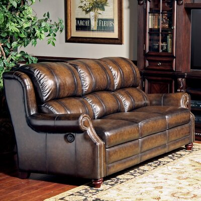 Twain Dual Leather Power Reclining Sofa by Parker House