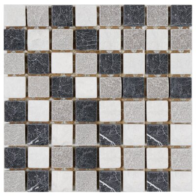 "EliteTile Grizelda 1.375"" x 1.375"" Natural Stone Mosaic Tile in Charcoal"