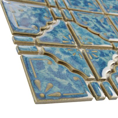 EliteTile Moonlight Random Sized Porcelain Hand-Painted Tile in Pacific Blue